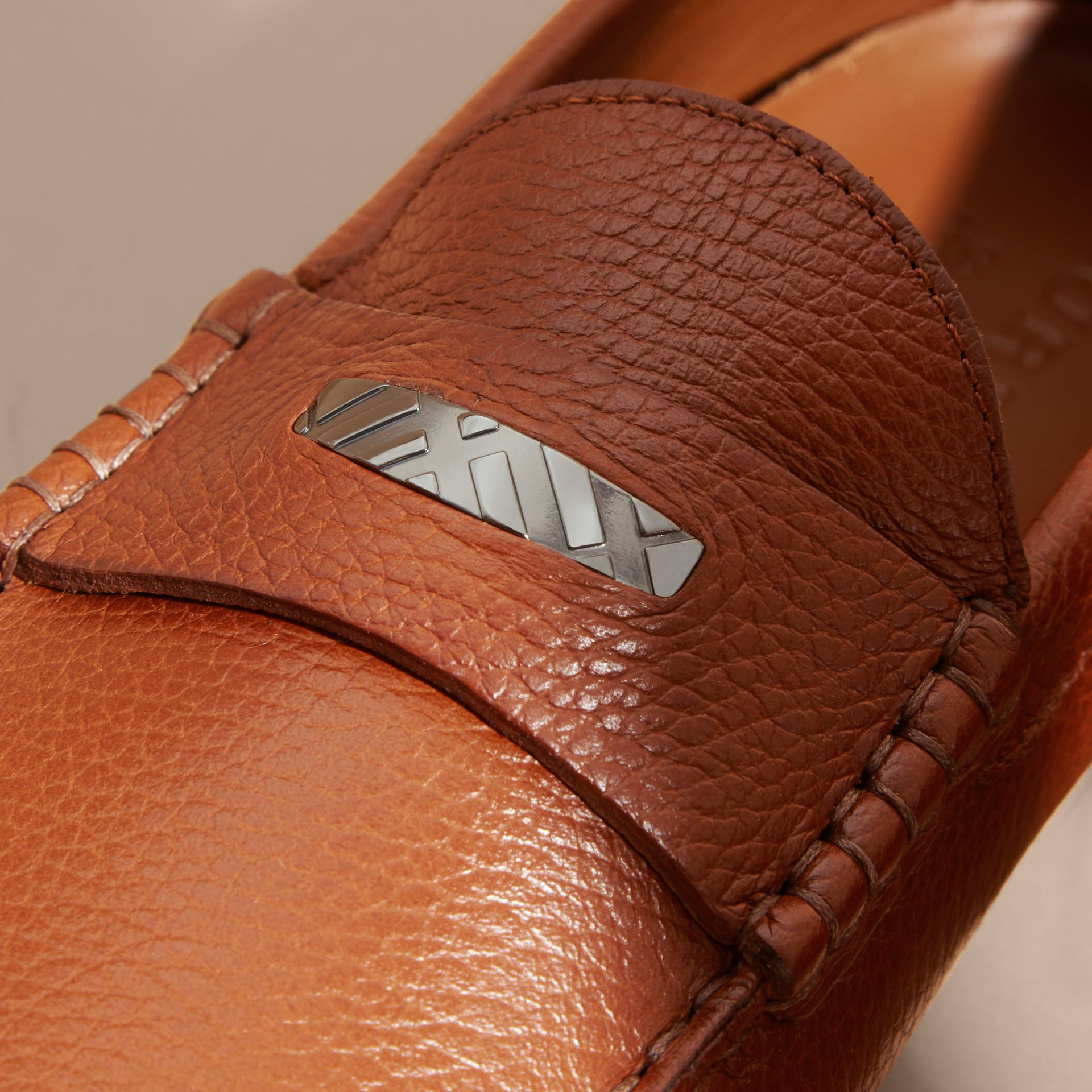 Leather Loafers with Engraved Check Detail - gallery image 2