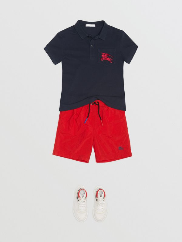 EKD Logo Cotton Piqué Polo Shirt in Navy - Children | Burberry - cell image 2