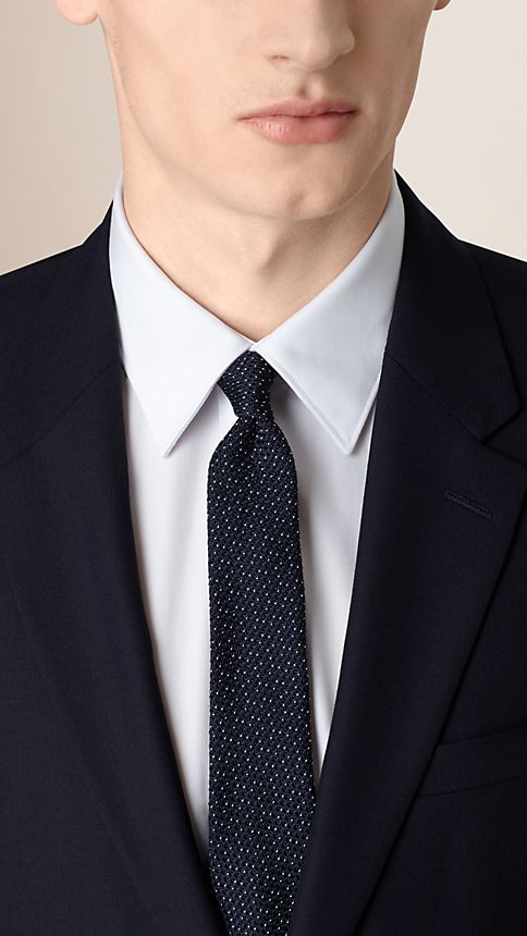 Navy Modern Fit Wool Part-canvas Jacket - Image 4