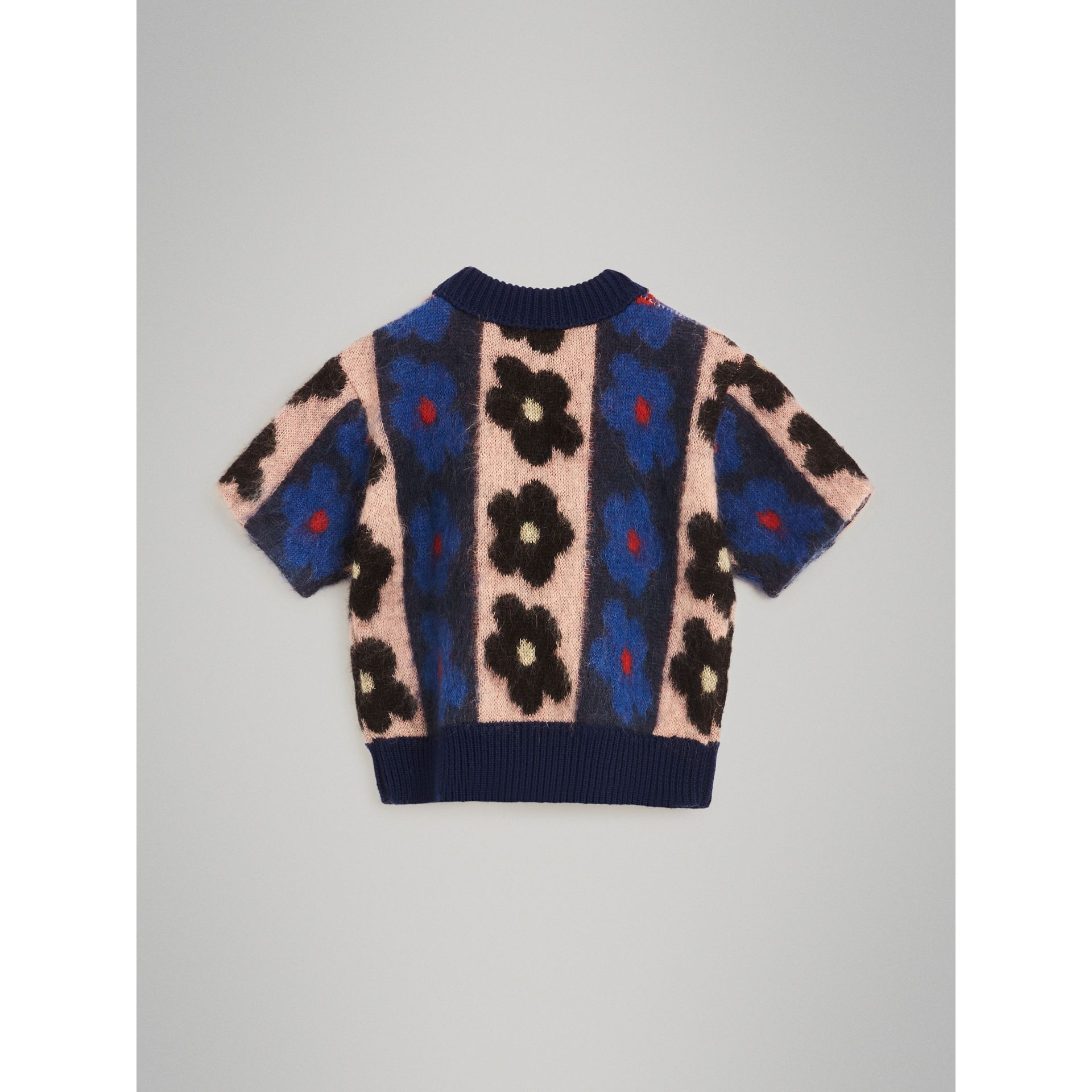 Short-sleeve Flower Intarsia Mohair Blend Sweater in Navy | Burberry - gallery image 3