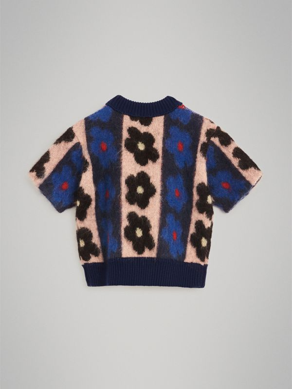 Short-sleeve Flower Intarsia Mohair Blend Sweater in Navy | Burberry - cell image 3