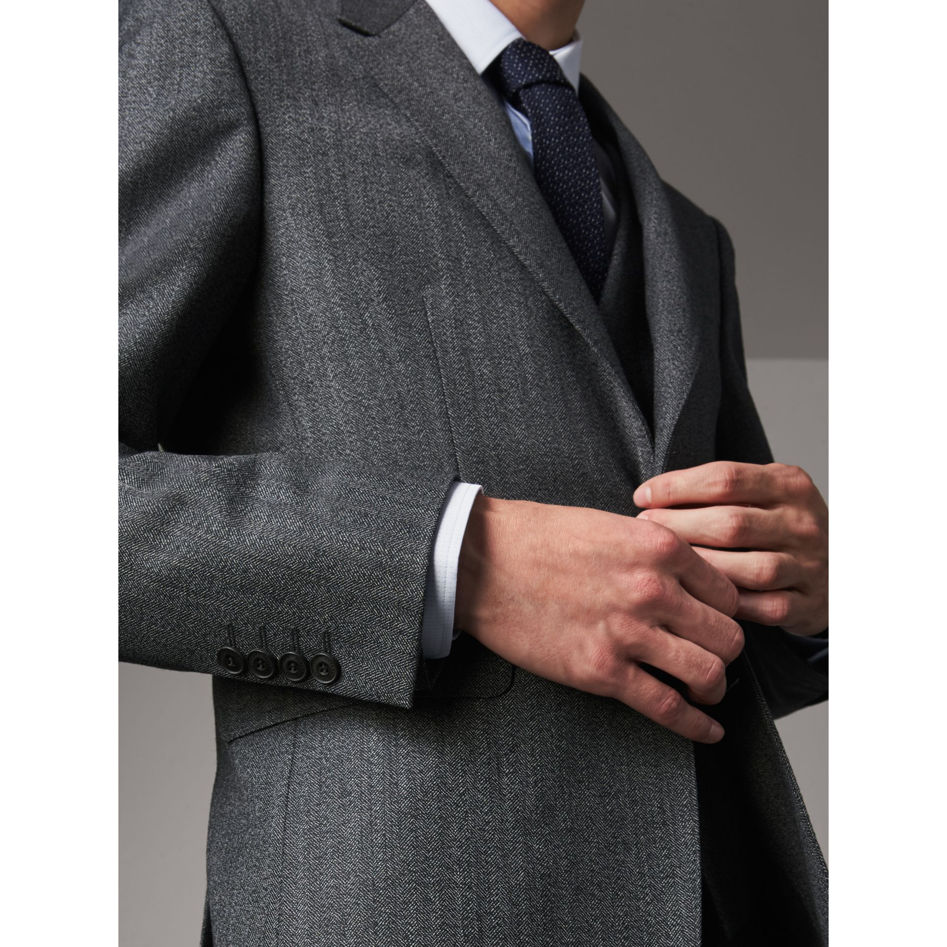 Modern Fit Wool Part-canvas Three-piece Suit in Charcoal - Men | Burberry Singapore - gallery image 7