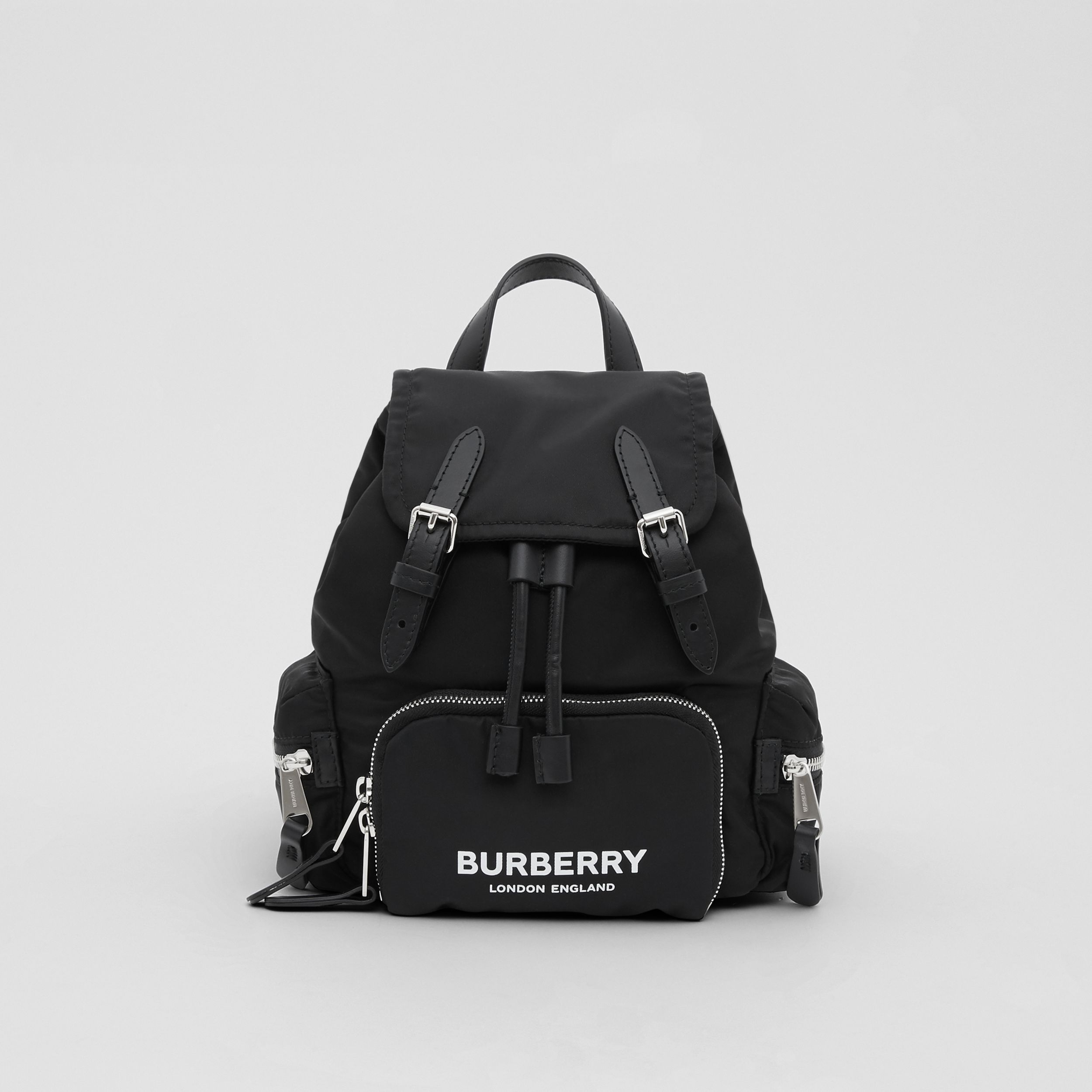The Small Rucksack in Logo Print ECONYL® in Black - Women | Burberry - 1