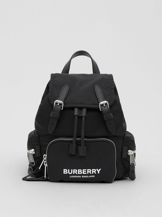 The Small Rucksack in Logo Print ECONYL® in Black