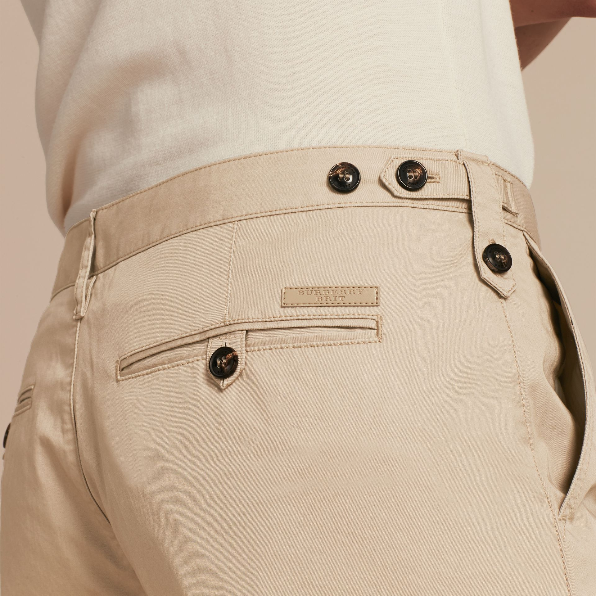 Straight Fit Cotton Chinos in Taupe - gallery image 5