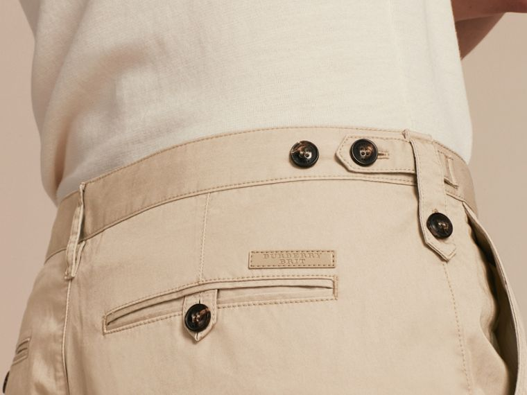 Straight Fit Cotton Chinos in Taupe - Men | Burberry - cell image 4