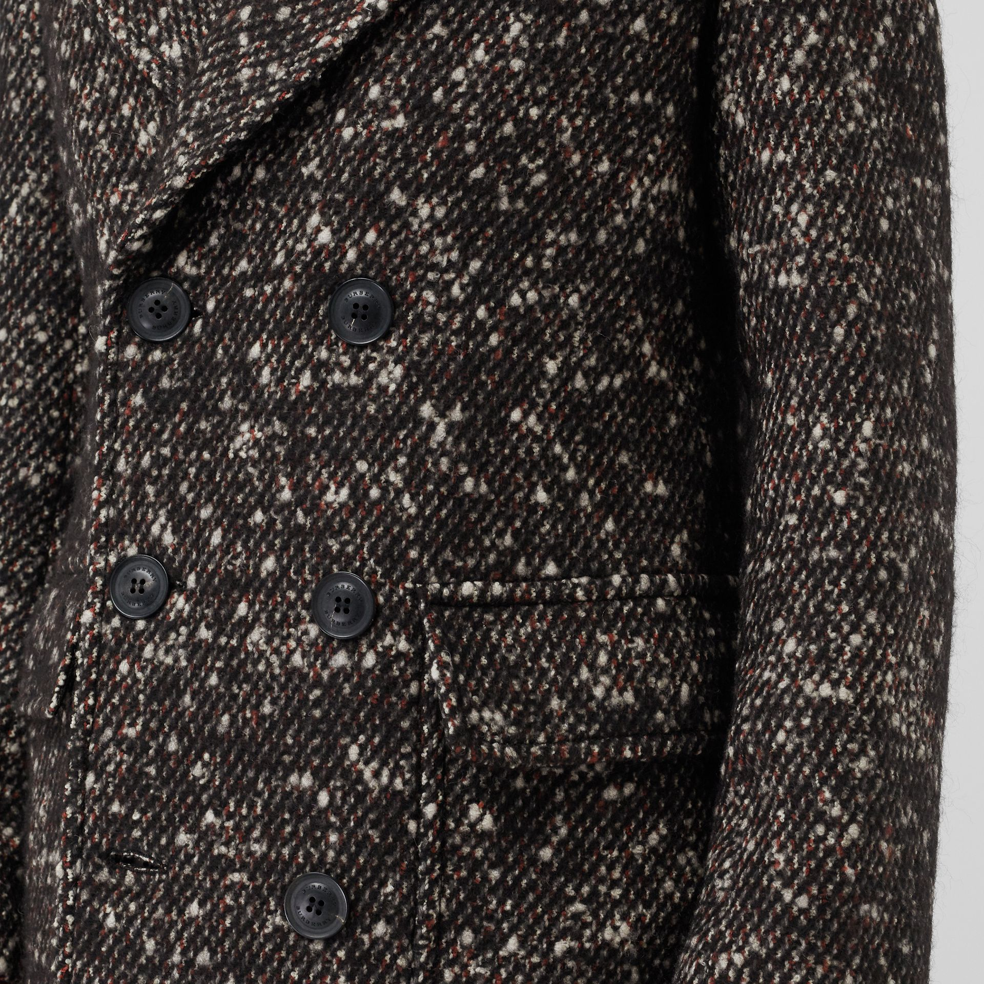 Wool Mohair Blend Tweed Tailored Coat in Black - Men | Burberry - gallery image 4