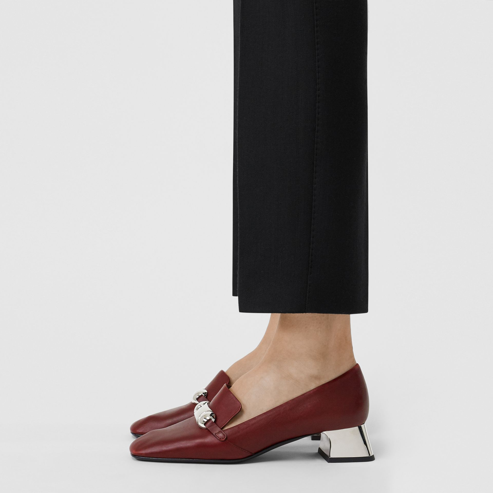 Studded Bar Detail Leather Pumps in Bordeaux - Women | Burberry - gallery image 2