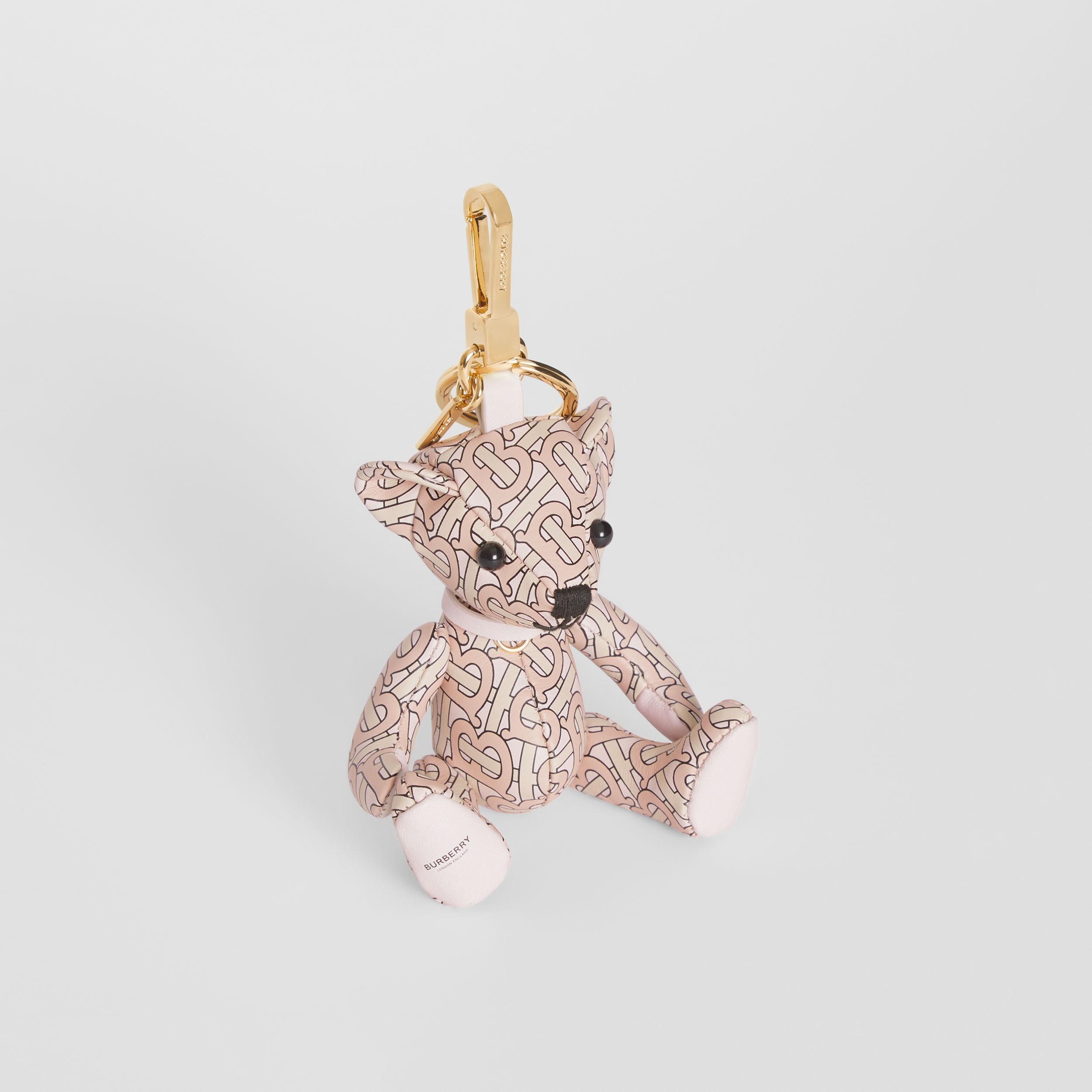 Thomas Bear Charm in Monogram Print Leather in Blush Pink - Women | Burberry - 1
