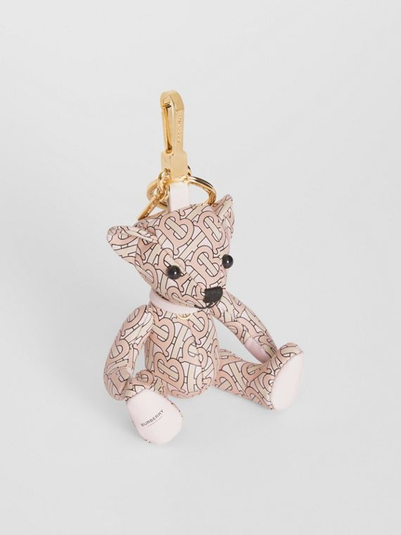 Adorno do Thomas Bear de couro com estampa de monograma (Rosa Blush)