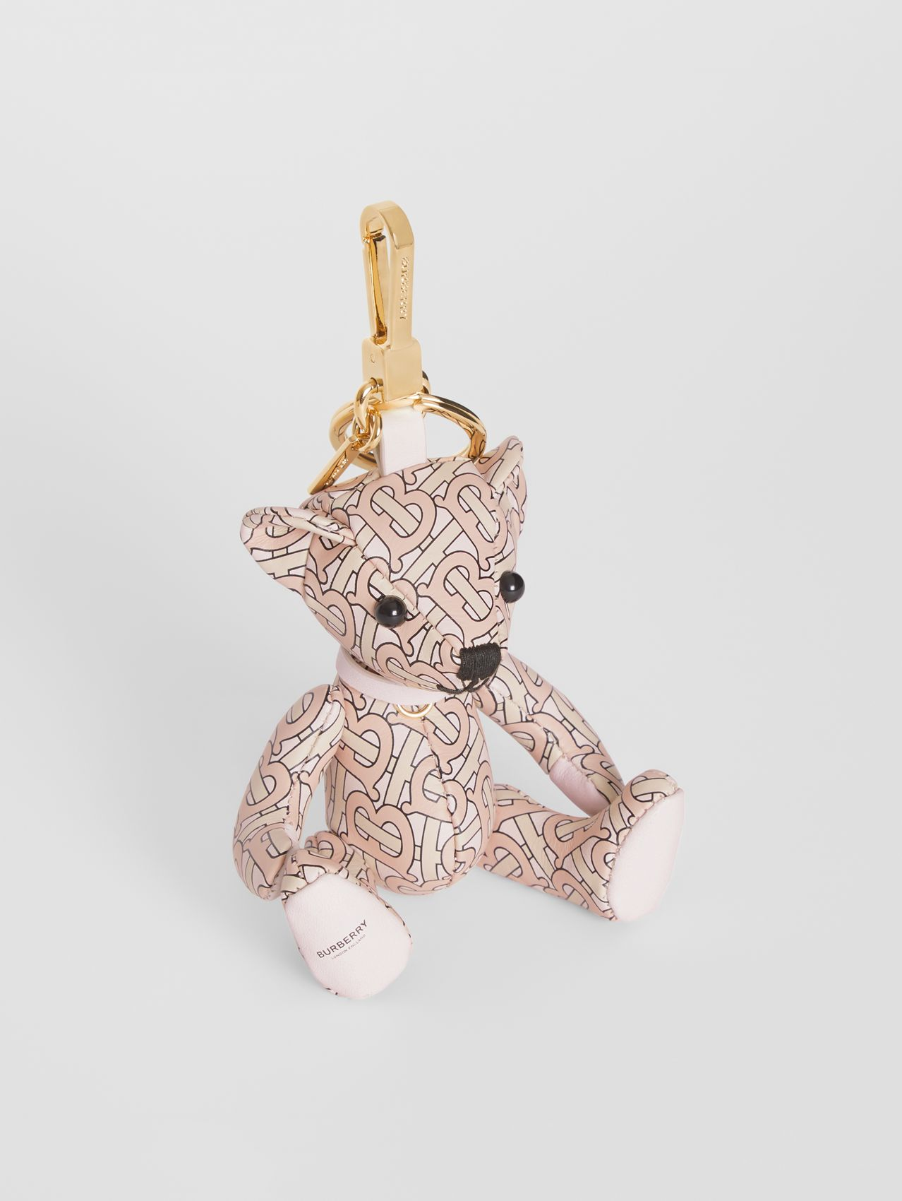 Thomas Bear Charm in Monogram Print Leather in Blush Pink