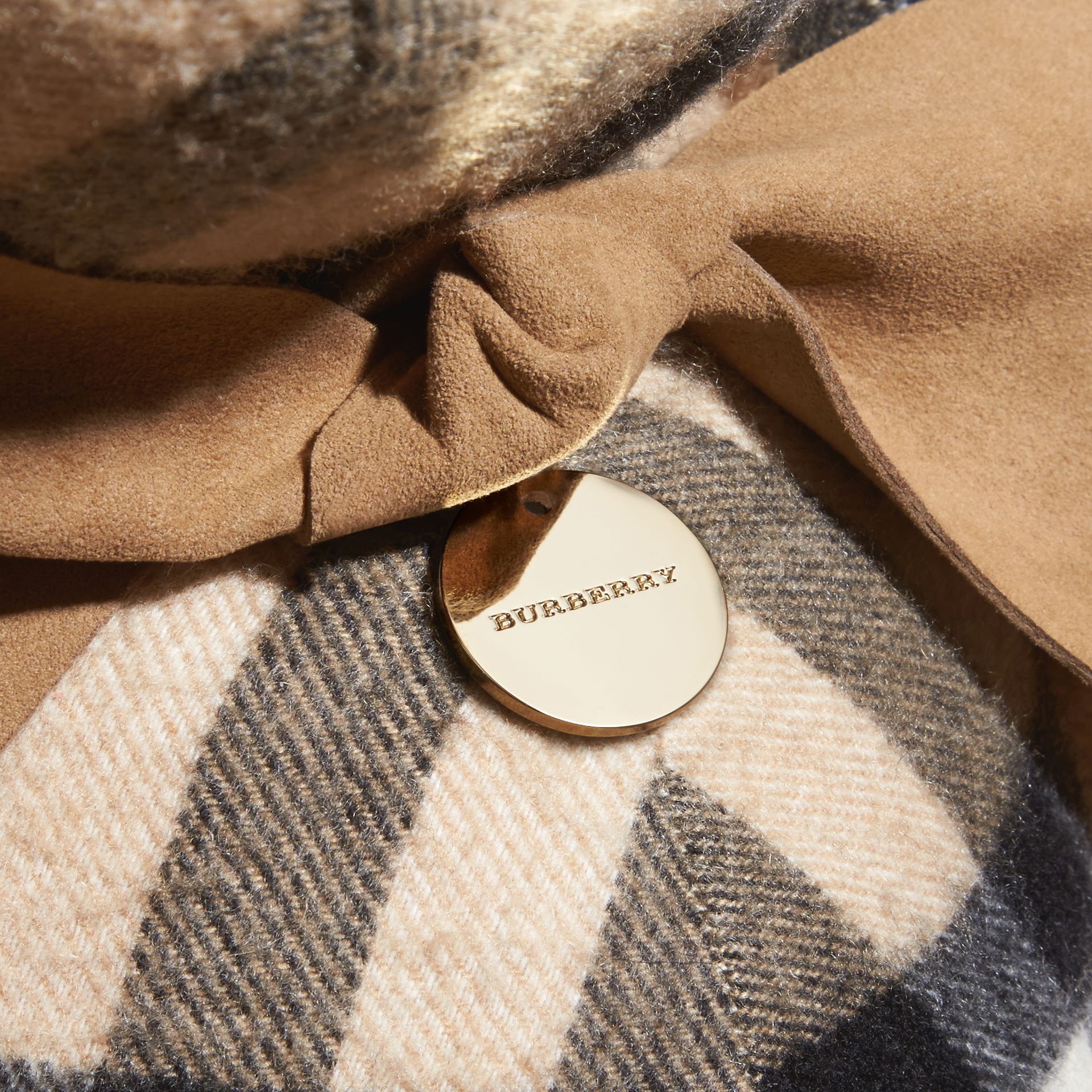 Large Thomas Bear in Check Cashmere in Camel | Burberry United Kingdom - gallery image 2