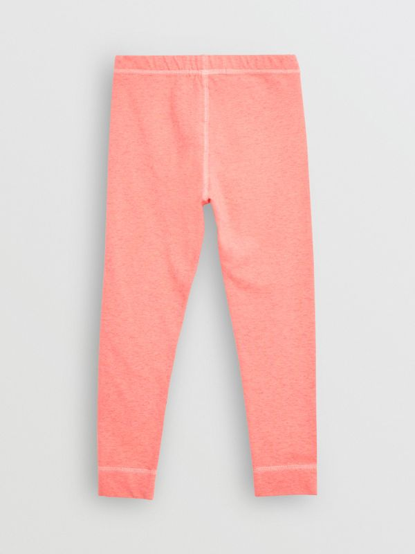 Logo Print Stretch Cotton Leggings in Pale Pink - Children | Burberry - cell image 3