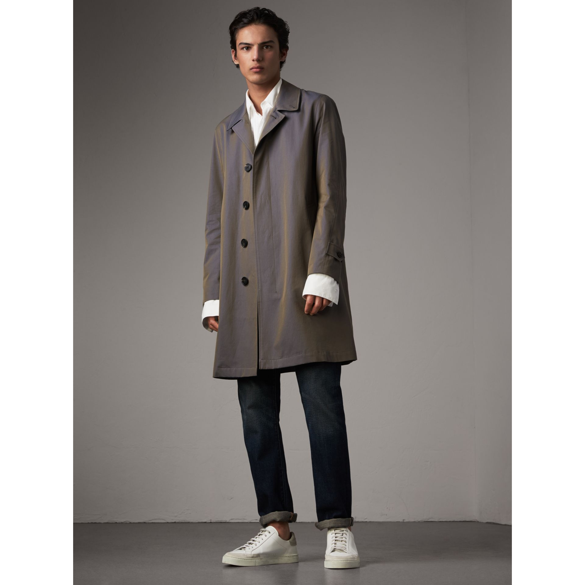 Tropical Gabardine Car Coat in Storm Blue - Men | Burberry Singapore - gallery image 1