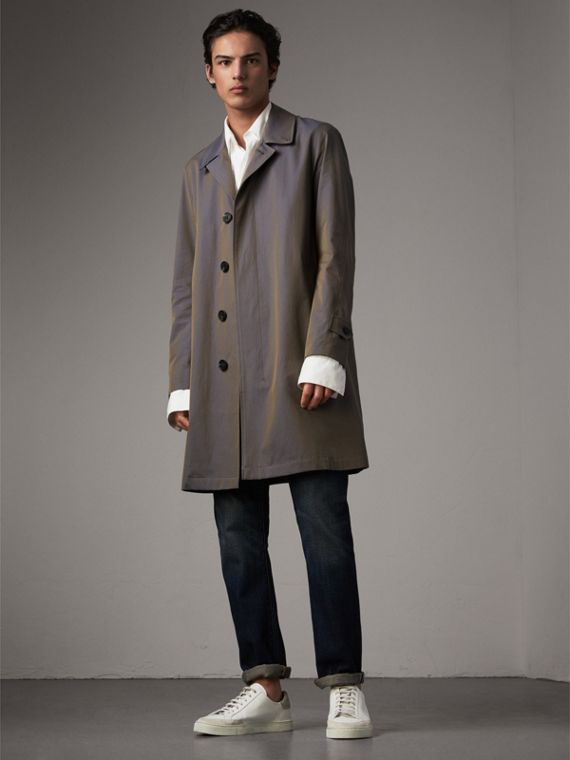 Tropical Gabardine Car Coat in Storm Blue