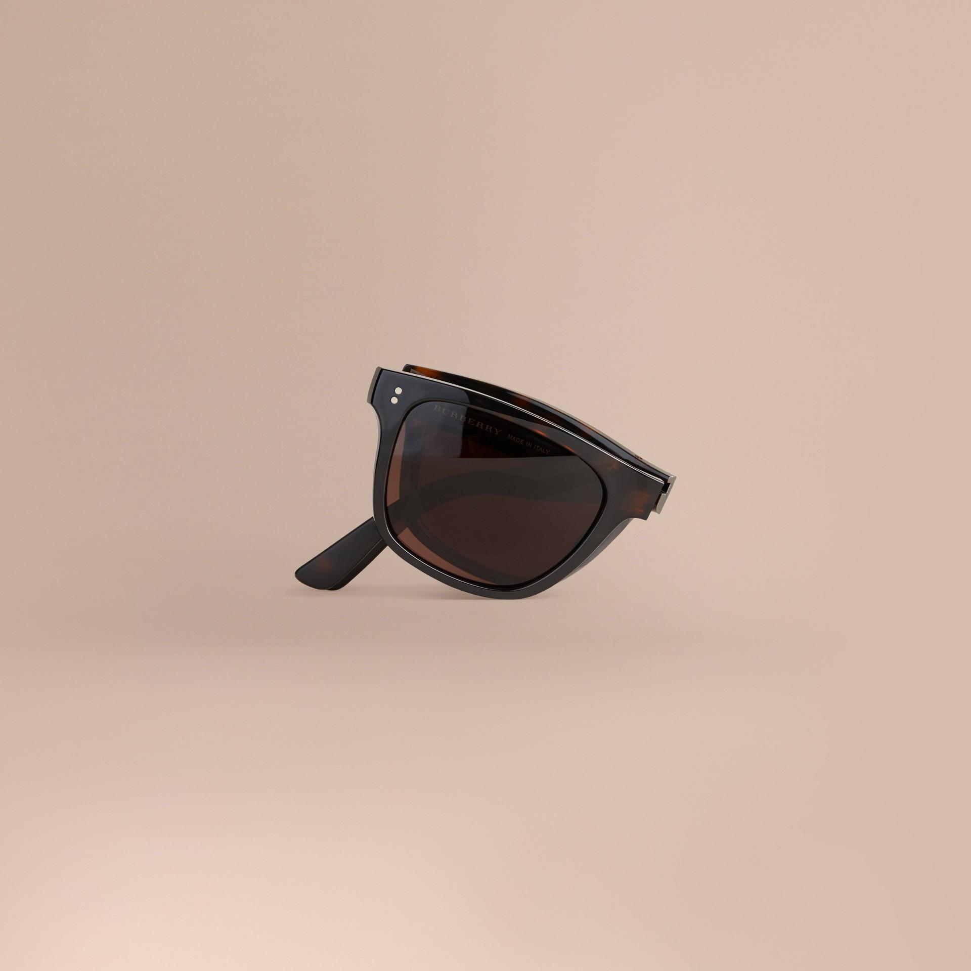 Marrone scuro Occhiali da sole con montatura rettangolare pieghevole Marrone Scuro - immagine della galleria 2