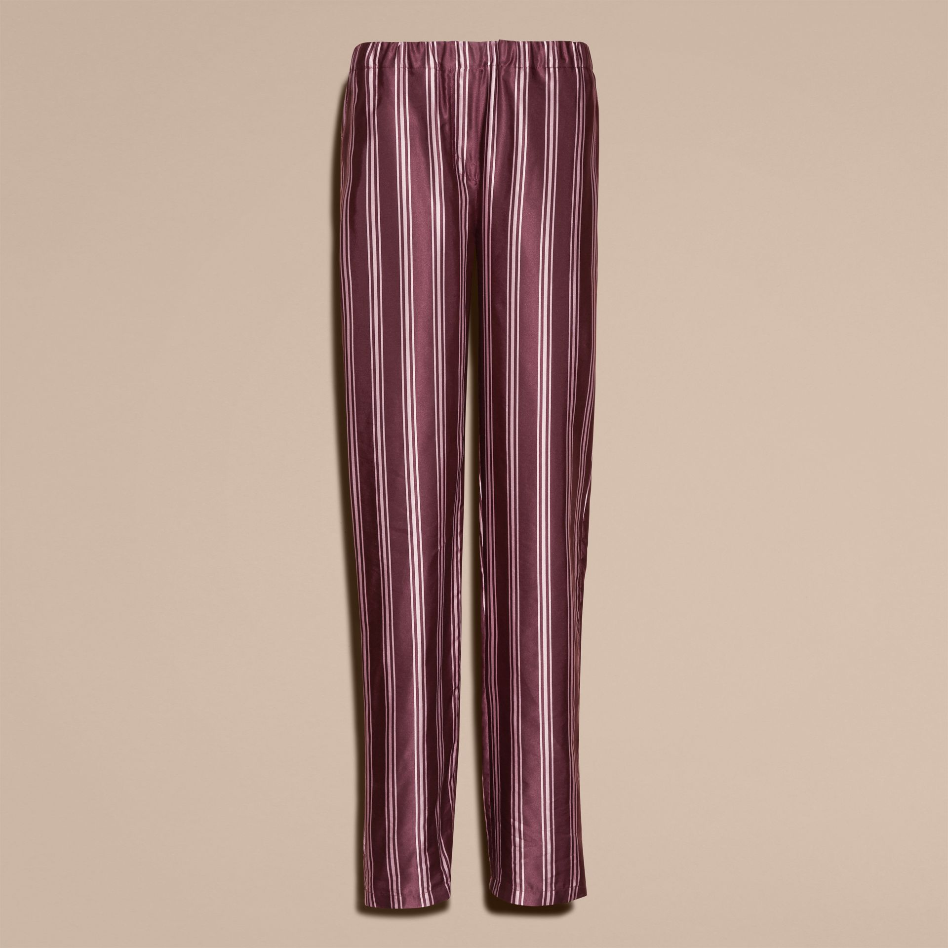 Crimson Panama Stripe Cotton Silk Satin Pyjama-style Trousers - gallery image 4