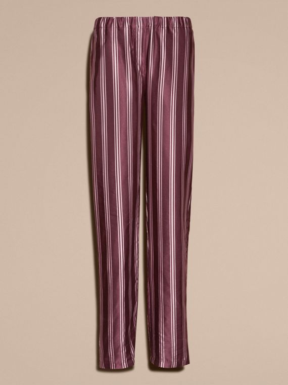 Crimson Panama Stripe Cotton Silk Satin Pyjama-style Trousers - cell image 3
