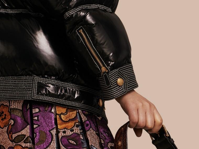 Nero Piumino lucido imbottito con collo in shearling - cell image 4