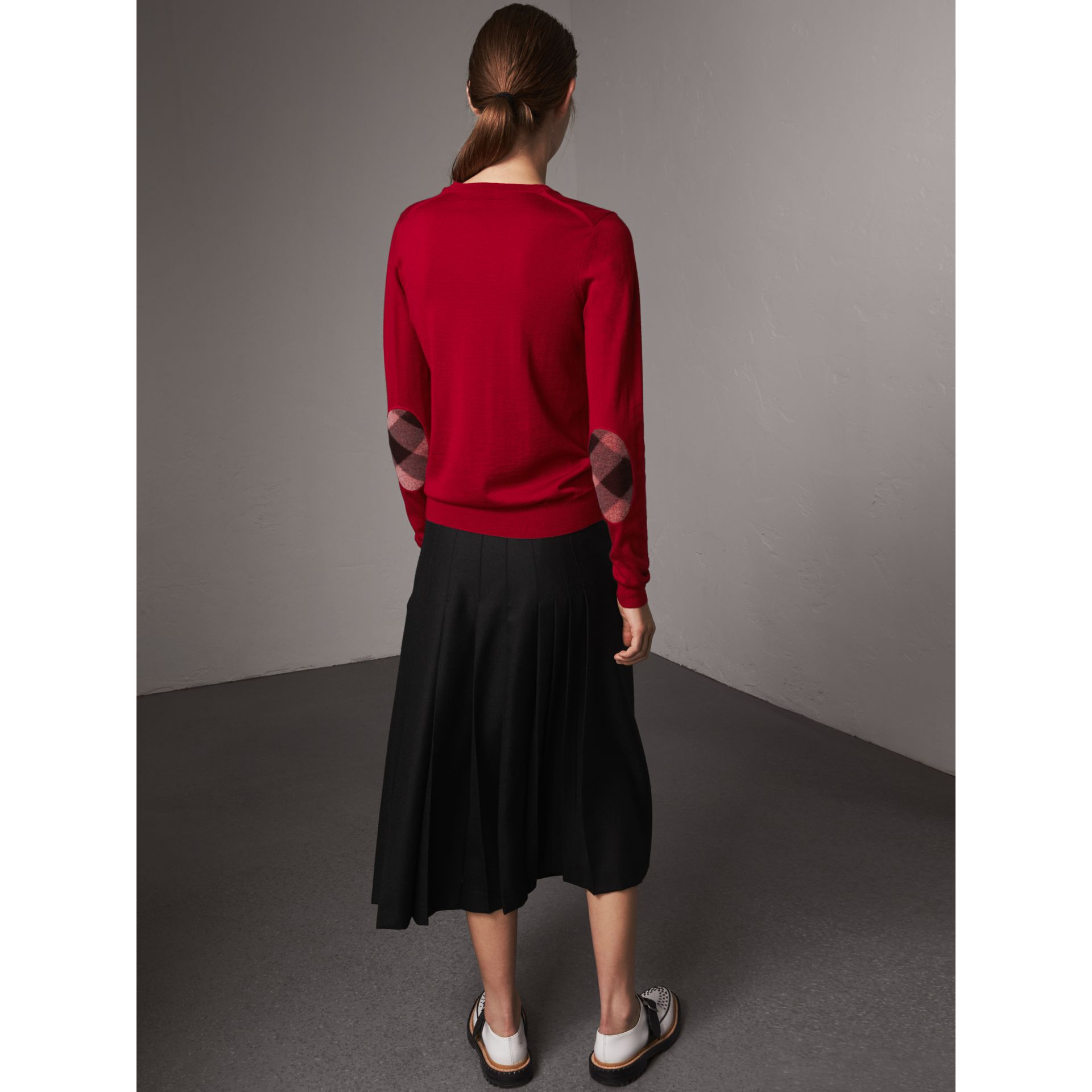 Check Detail Merino Wool Sweater in Parade Red - Women | Burberry United Kingdom - gallery image 3