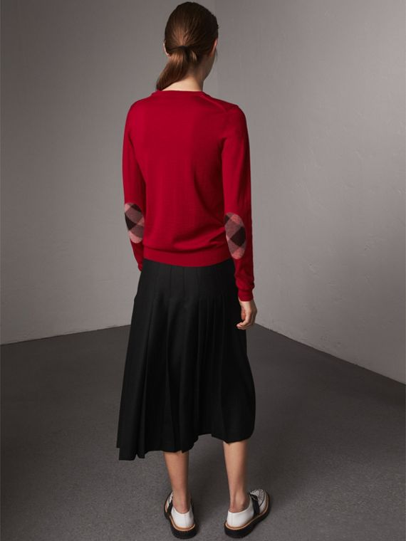 Check Detail Merino Wool Sweater in Parade Red - Women | Burberry United Kingdom - cell image 2