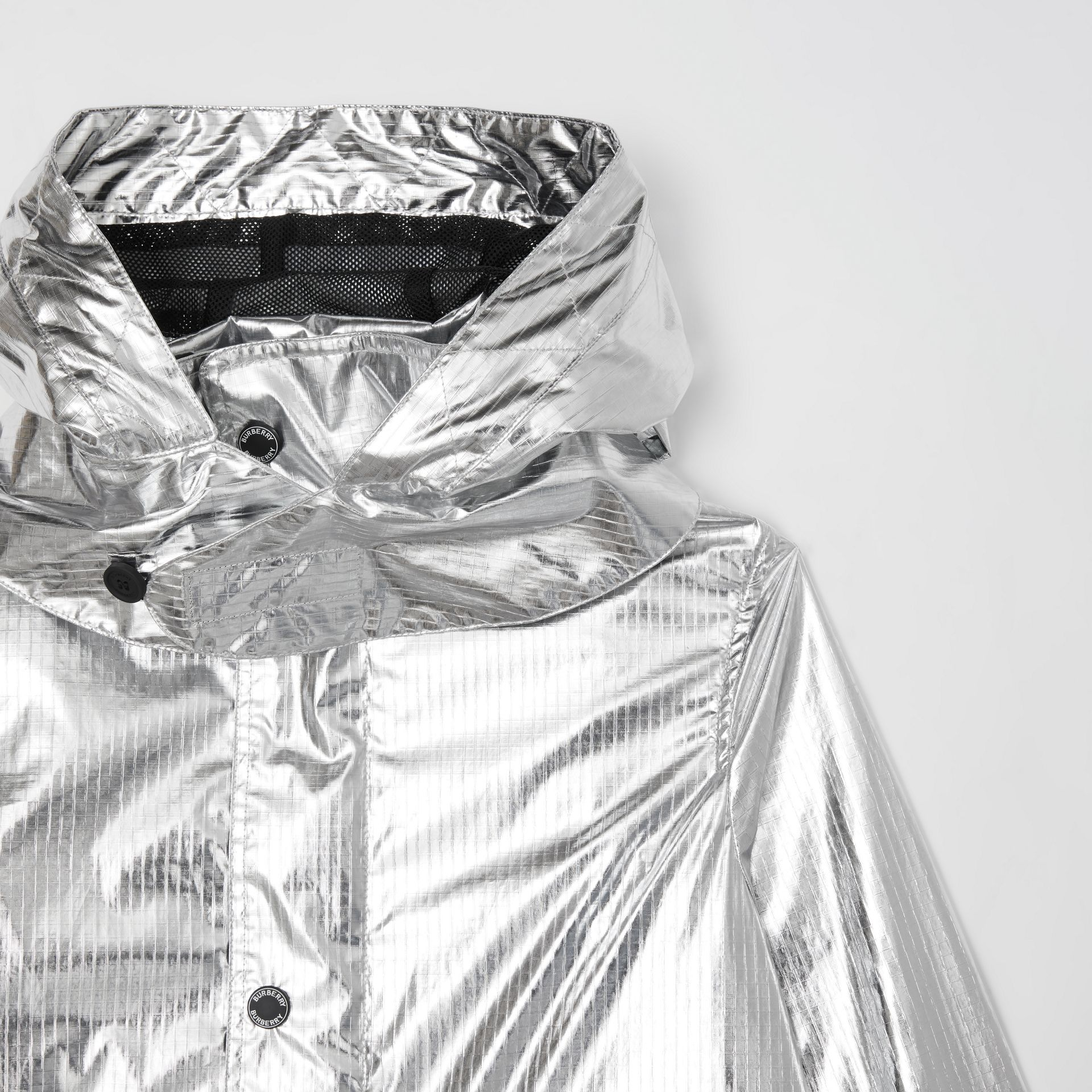 Detachable Hood Metallic Nylon Parka in Silver | Burberry - gallery image 5