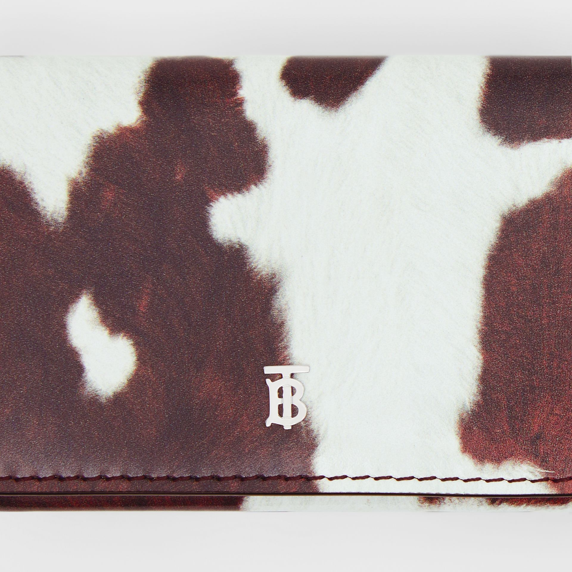 Small Cow Print Leather Folding Wallet in Malt Brown - Women | Burberry - gallery image 1