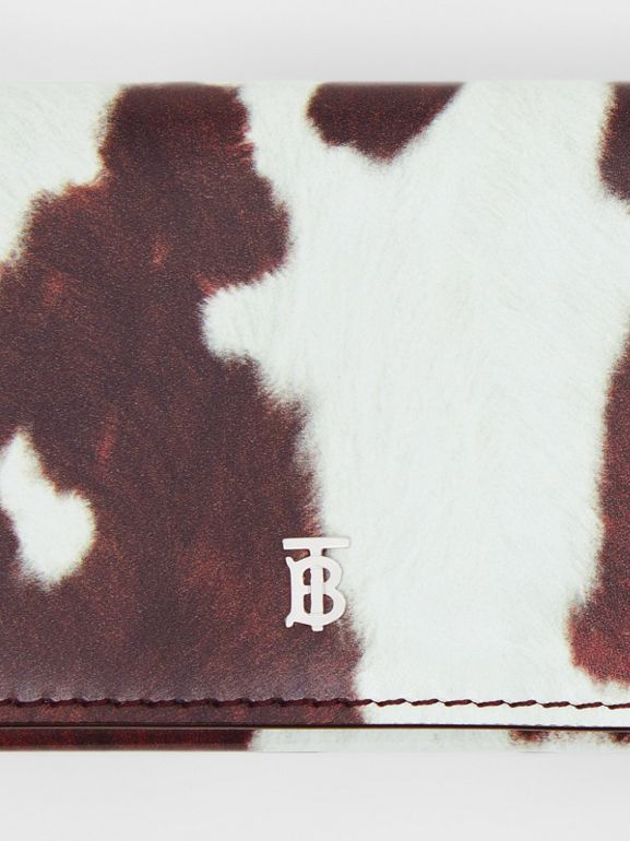 Small Cow Print Leather Folding Wallet in Malt Brown - Women | Burberry Canada - cell image 1
