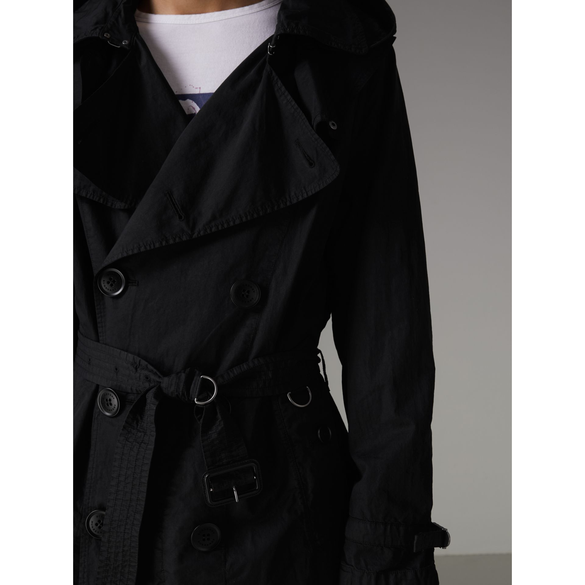 Detachable Hood Cotton Trench Coat in Black - Men | Burberry Hong Kong - gallery image 3