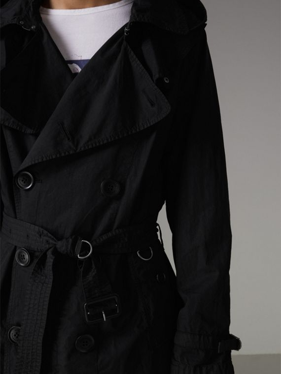 Detachable Hood Cotton Trench Coat in Black - Men | Burberry Singapore - cell image 3
