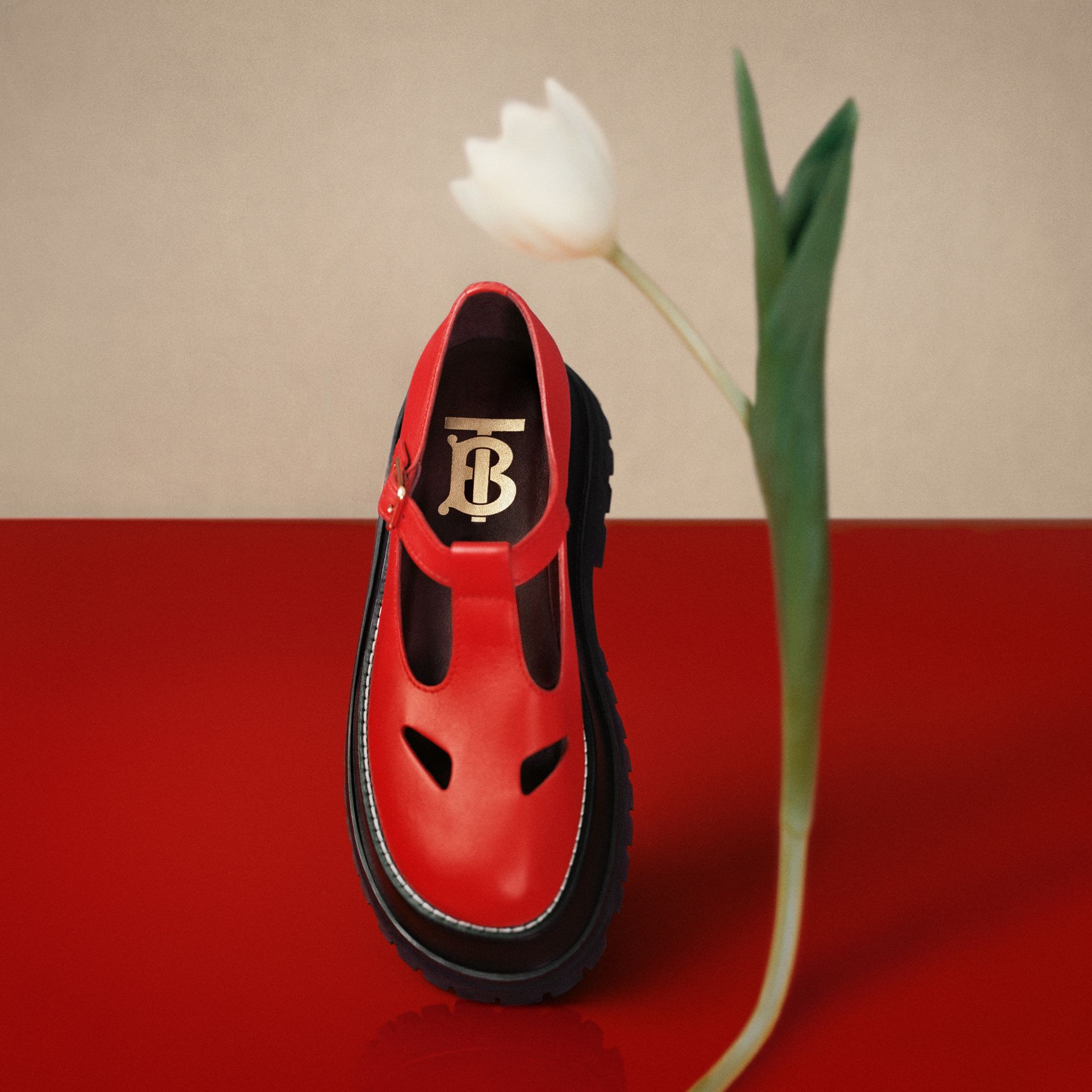 Leather T-bar Shoes in Red - Women | Burberry United Kingdom - gallery image 1