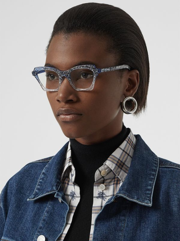 Glitter Detail Butterfly Optical Frames in Blue - Women | Burberry - cell image 2