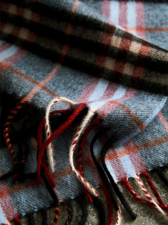 Check Cashmere Scarf in Pale Carbon Blue | Burberry United Kingdom - cell image 1