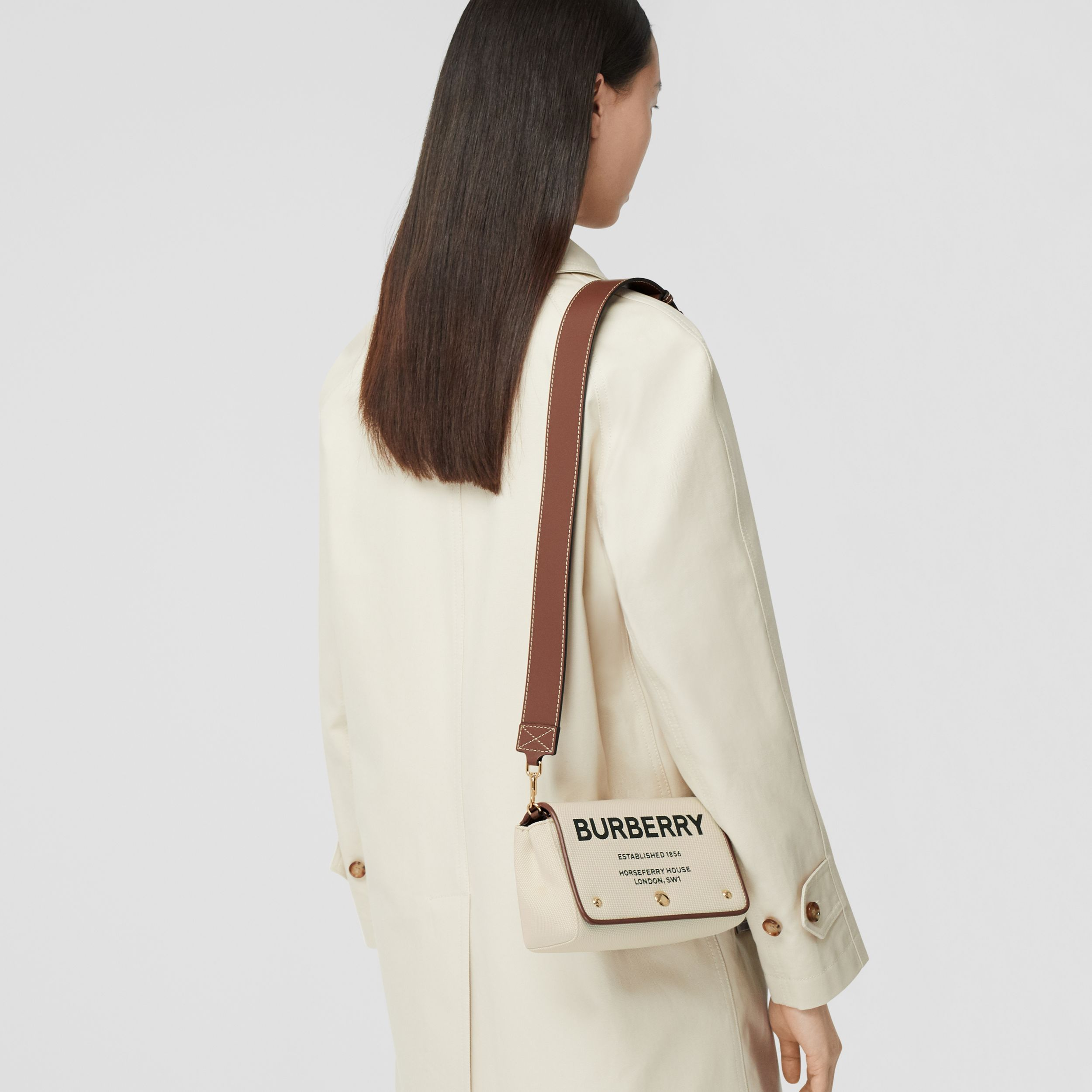 Small Horseferry Print Cotton Canvas Crossbody Bag in White/tan - Women | Burberry - 3