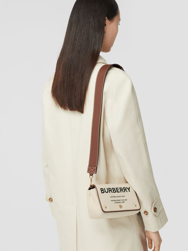 Small Horseferry Print Cotton Canvas Crossbody Bag in White/tan | Burberry - cell image 2