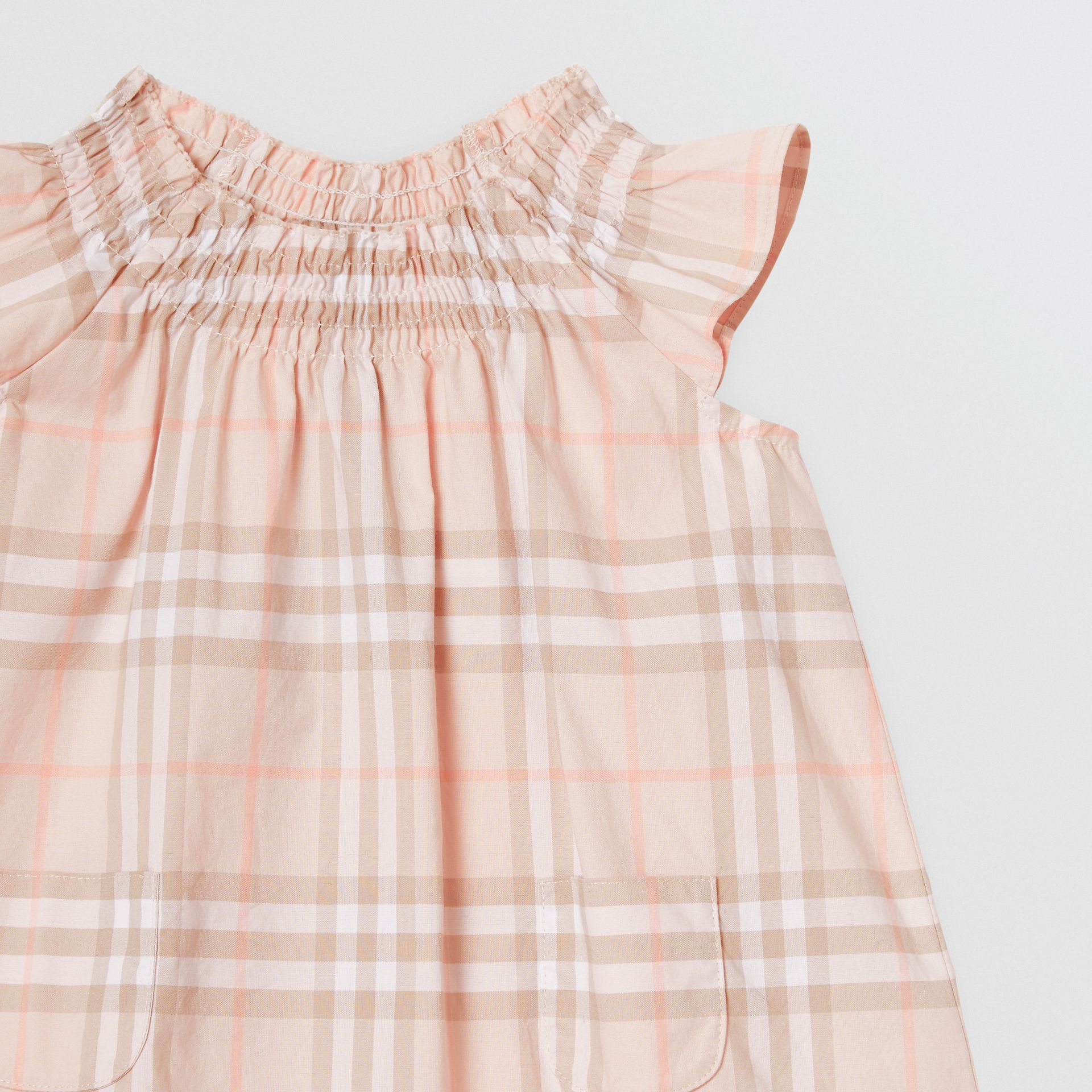 Smocked Vintage Check Cotton Dress in Pale Pink Apricot - Children | Burberry - gallery image 4