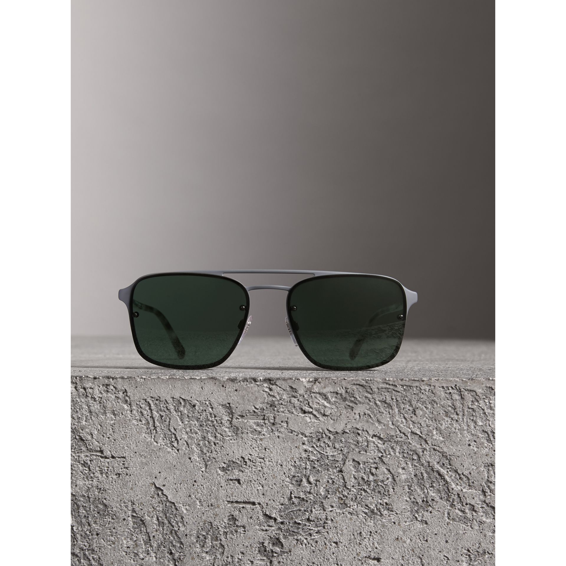 Square Frame Metal Sunglasses in Grey - Men | Burberry - gallery image 2