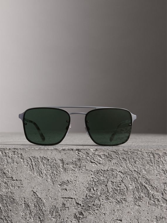 Square Frame Metal Sunglasses in Grey - Men | Burberry United States - cell image 2