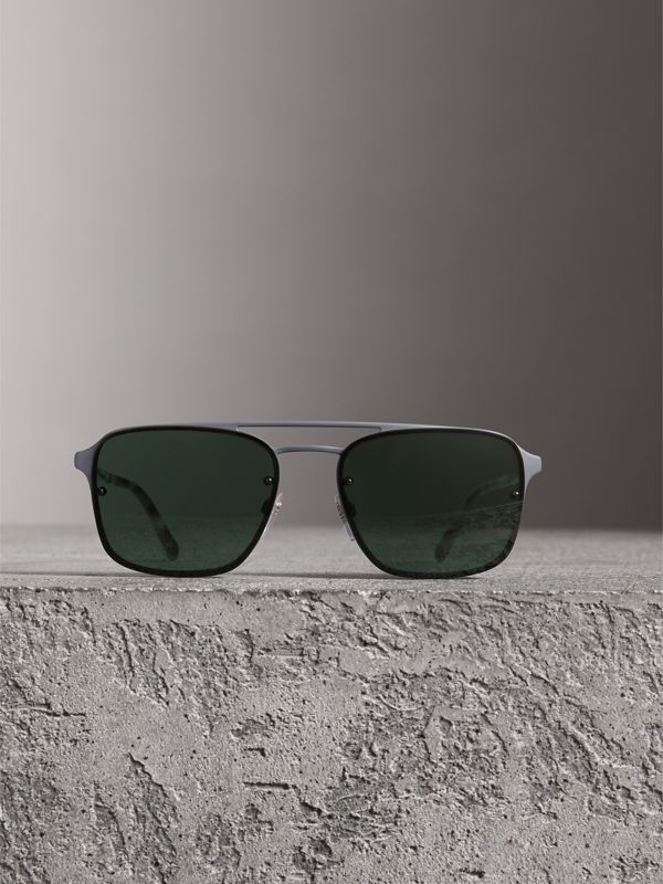 Square Frame Metal Sunglasses in Grey - Men | Burberry Canada - cell image 2