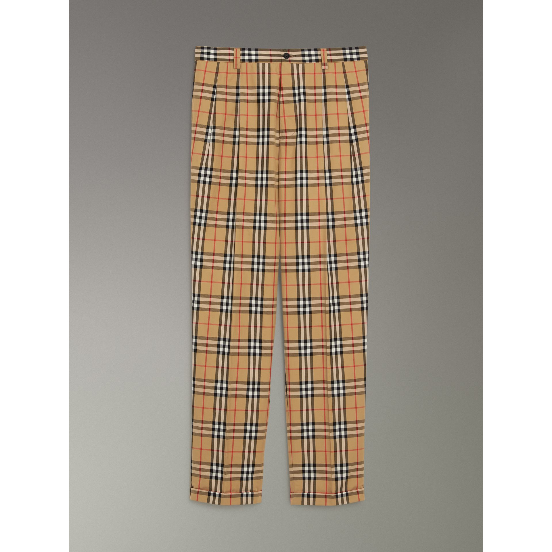 Vintage Check Cotton Trousers in Antique Yellow - Men | Burberry - gallery image 3