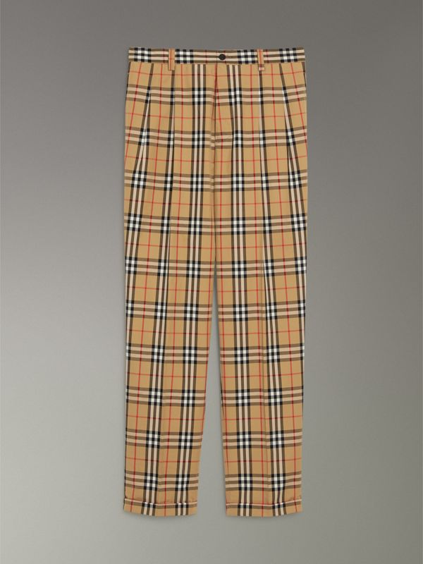 Vintage Check Cotton Trousers in Antique Yellow - Men | Burberry - cell image 3