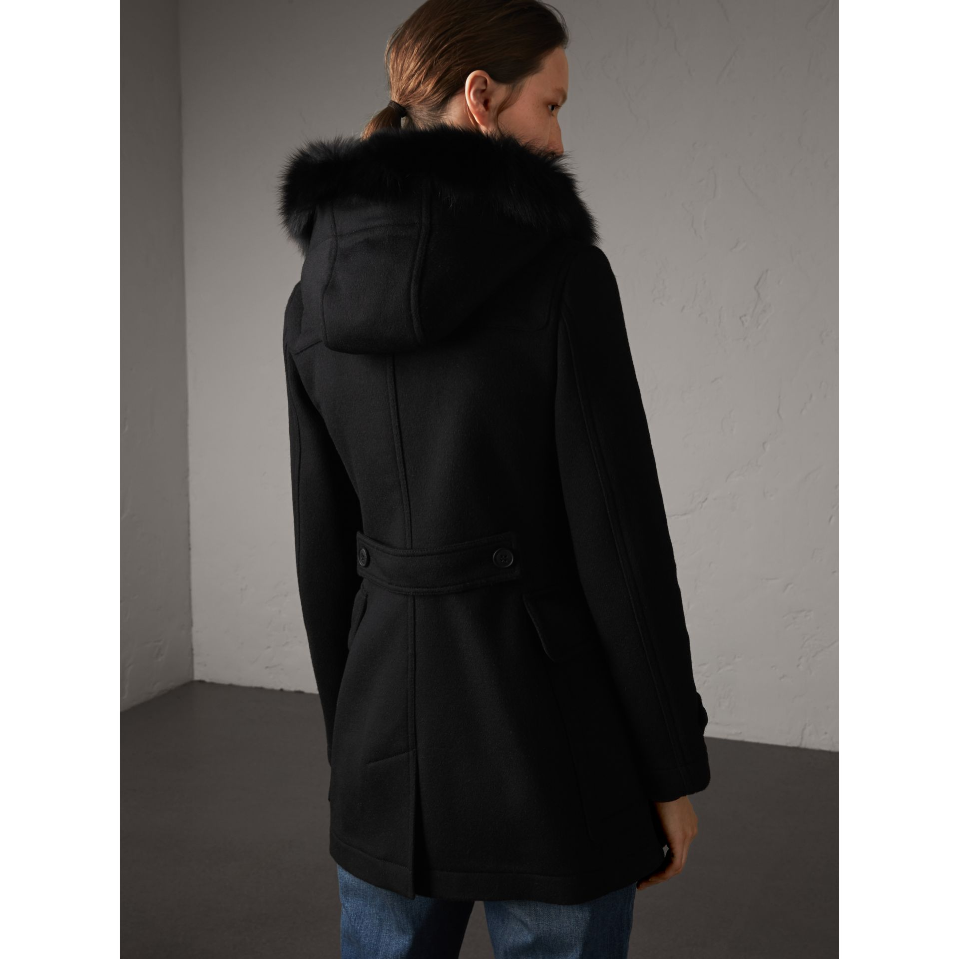 Detachable Fur Trim Wool Duffle Coat in Black - gallery image 3