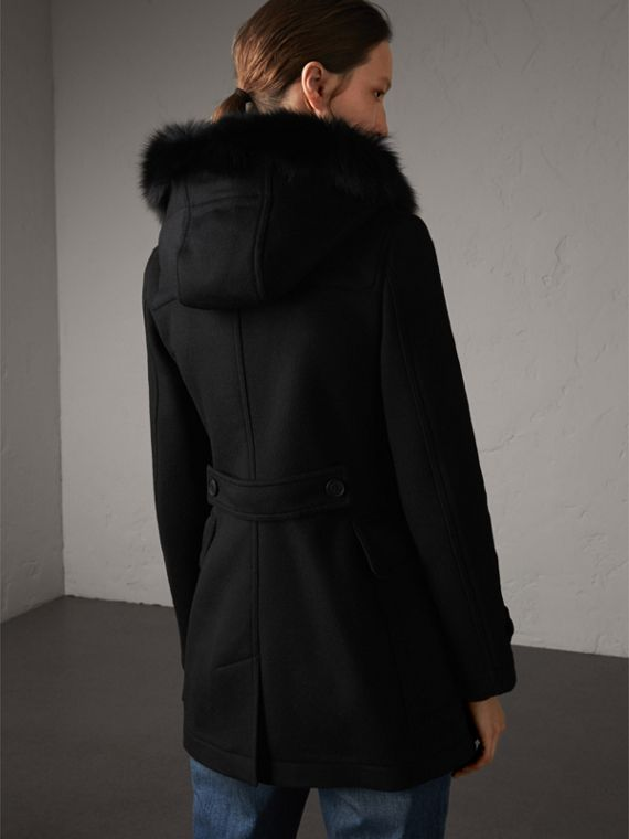 Detachable Fur Trim Wool Duffle Coat in Black - cell image 2