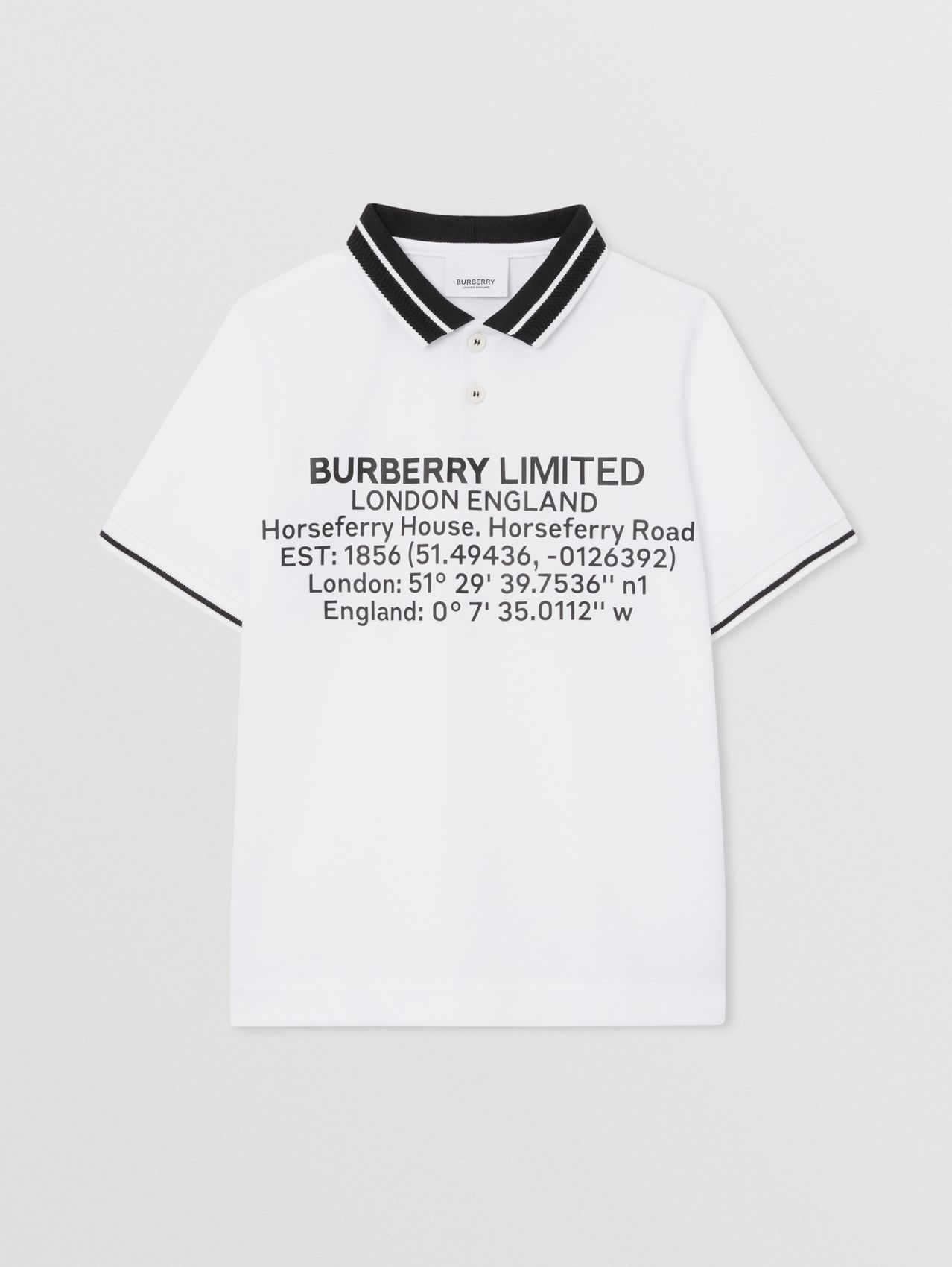 Location Print Cotton Piqué Polo Shirt (White)