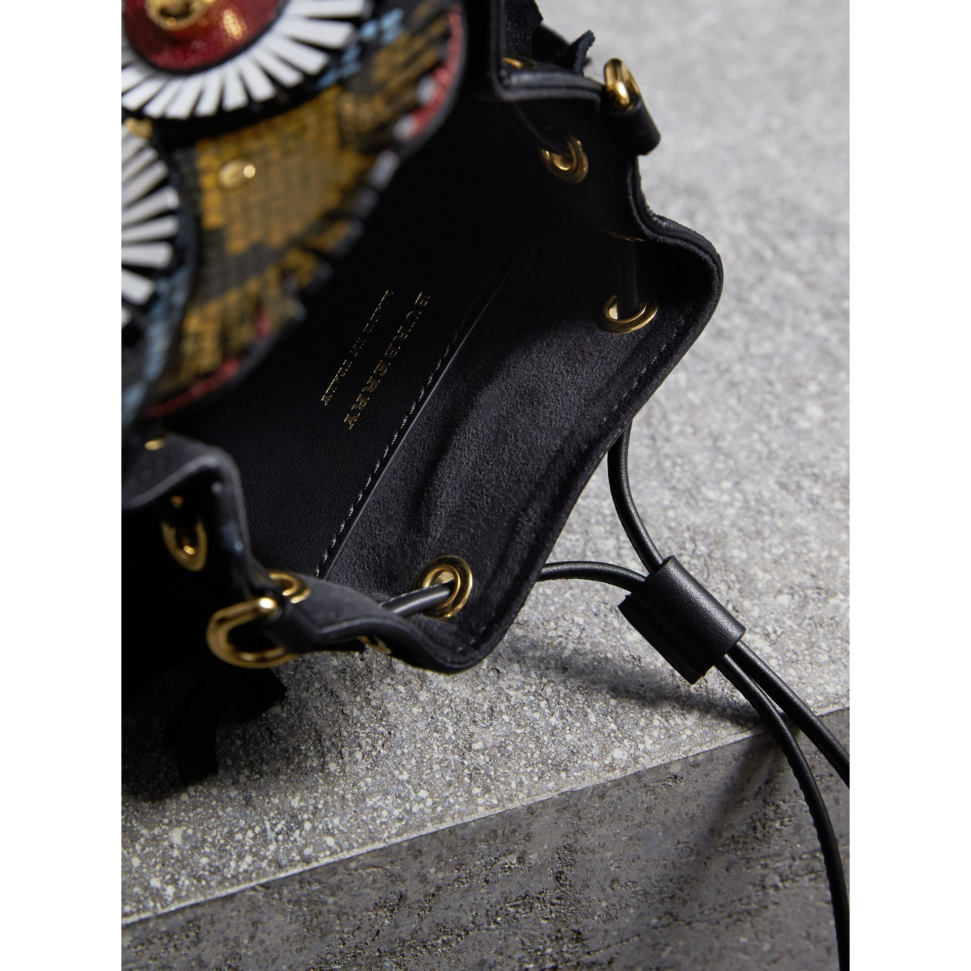 The Owl – Calf Suede and Calf Hair Crossbody Bag in Black/white - Women | Burberry United States - gallery image 6