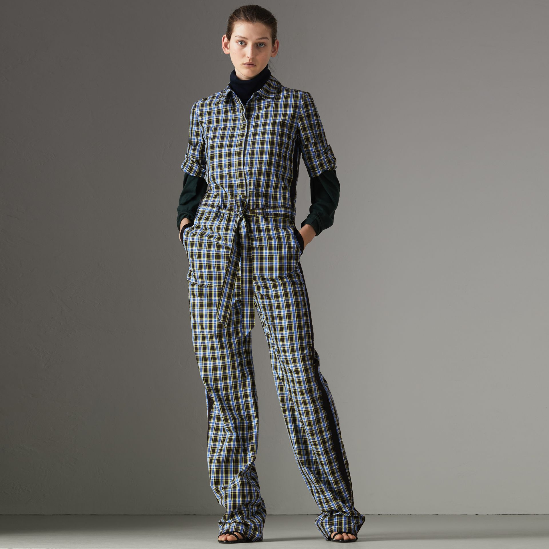 Check Cotton Silk Jumpsuit in Azure Blue - Women | Burberry - gallery image 0