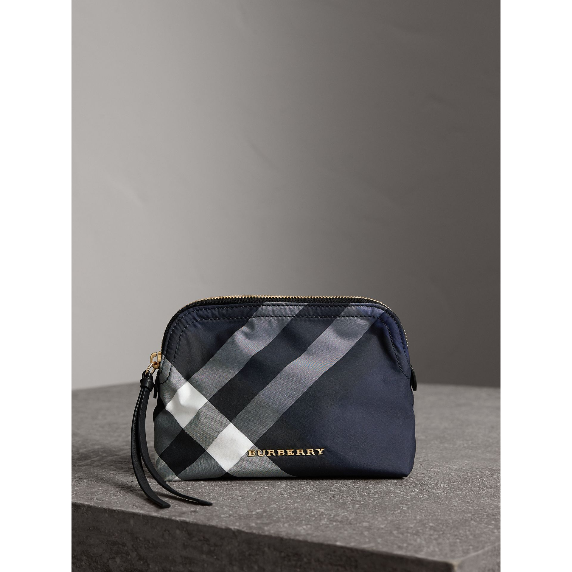 Medium Zip-top Check Technical Pouch in Indigo Blue - Women | Burberry - gallery image 0