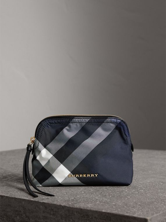 Medium Zip-top Check Technical Pouch in Indigo Blue