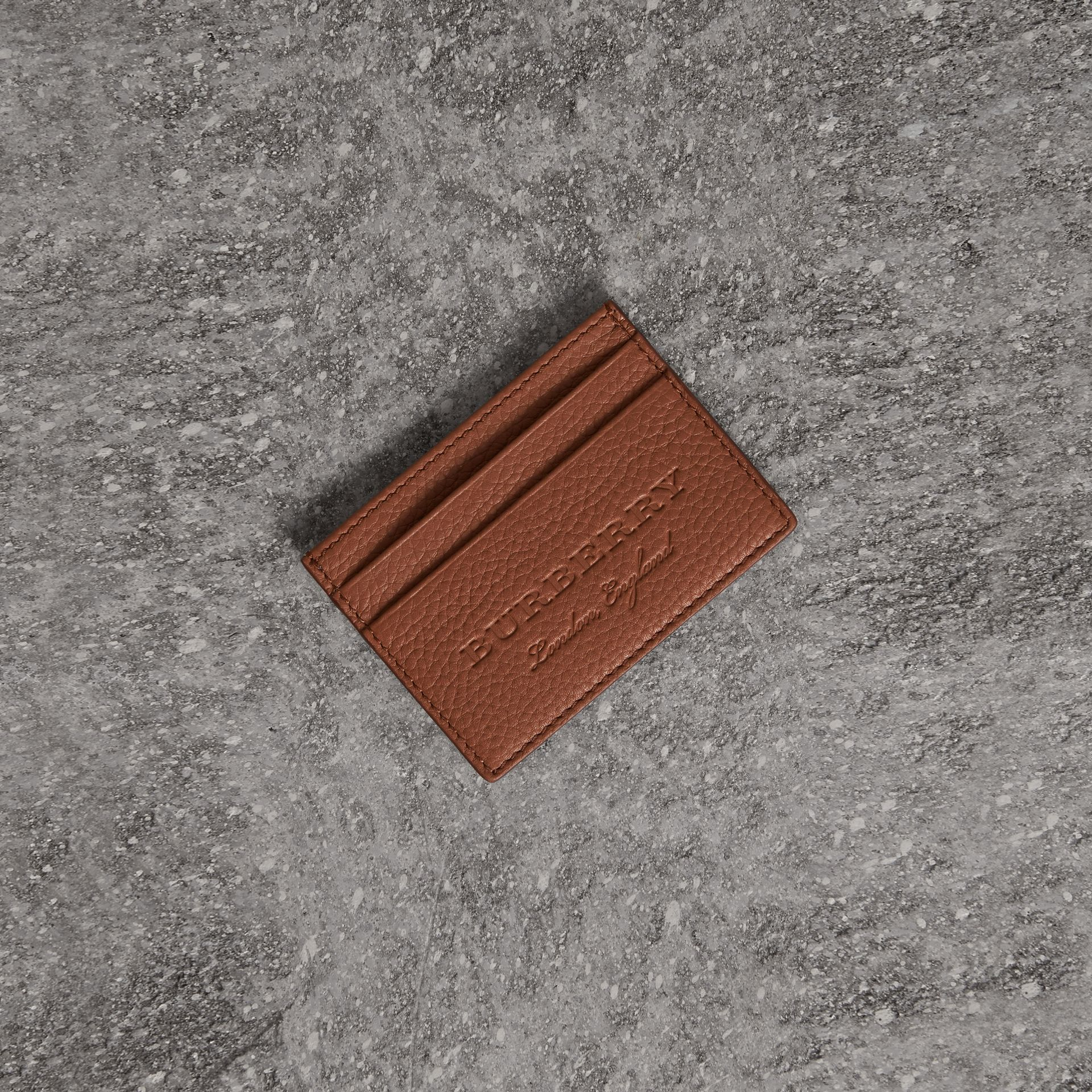 Textured Leather Card Case in Chestnut Brown | Burberry - gallery image 0