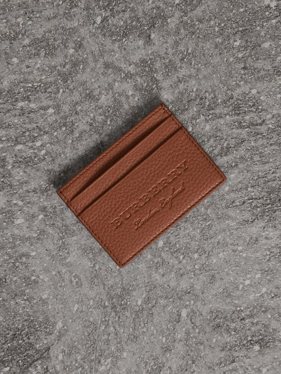 Textured Leather Card Case in Chestnut Brown